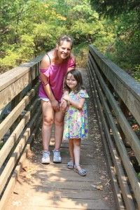 Kirsten and Nellie, on the way to the reservoir, Ashland, August 2012.