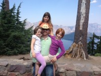 Noah and the girls (Stella, Zoe and Nellie) at Crater Lake
